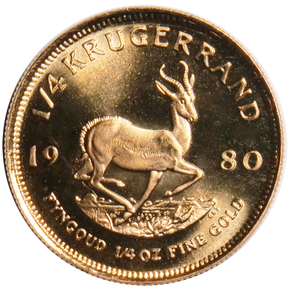 1980 South African Gold Krugerrand 1 4 Oz Uncirculated Ebay
