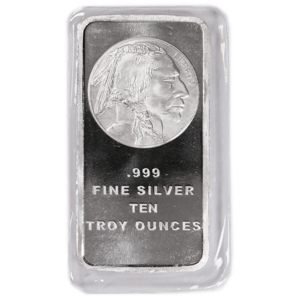 10 Troy Oz Buffalo 999 Fine Silver Bar Sealed Ebay