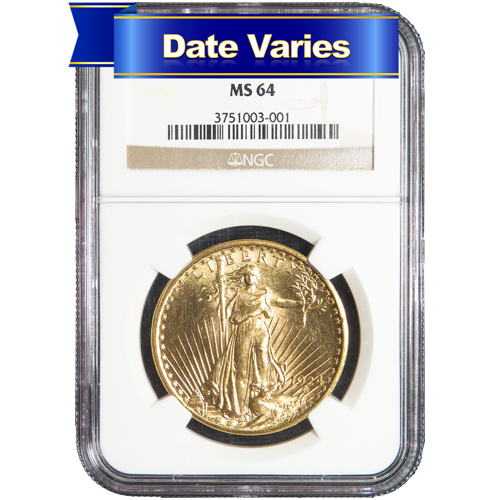 1907 to 1927 20 st gaudens gold double eagle ngc ms64 random year ebay. Black Bedroom Furniture Sets. Home Design Ideas