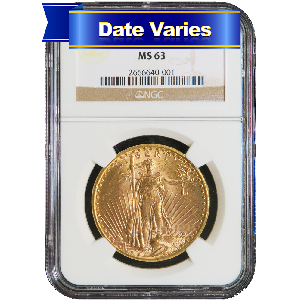 1907 to 1927 20 st gaudens gold double eagle ngc ms63 random year ebay. Black Bedroom Furniture Sets. Home Design Ideas