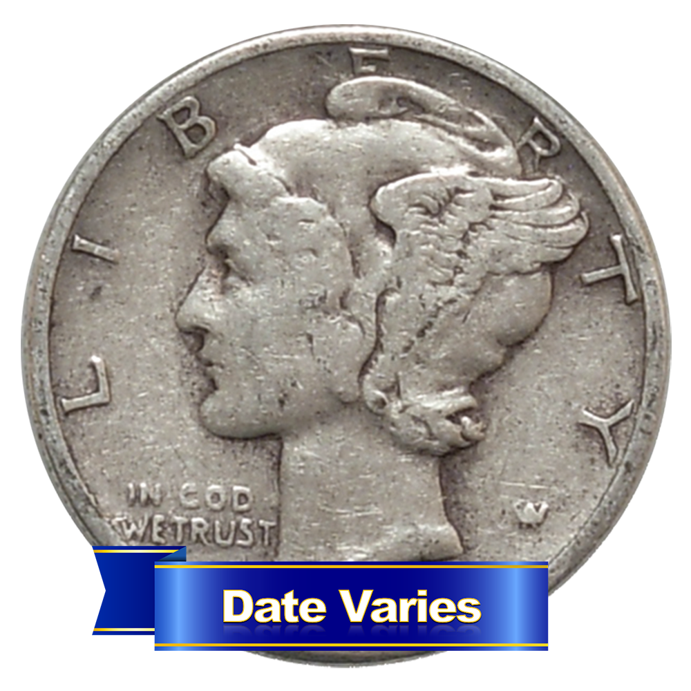 1916 1945 90 Silver Mercury Dimes Average Circulated 1