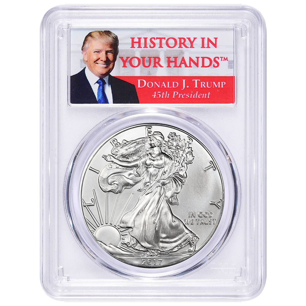 2017 1 American Silver Eagle Pcgs Ms70 Donald Trump First