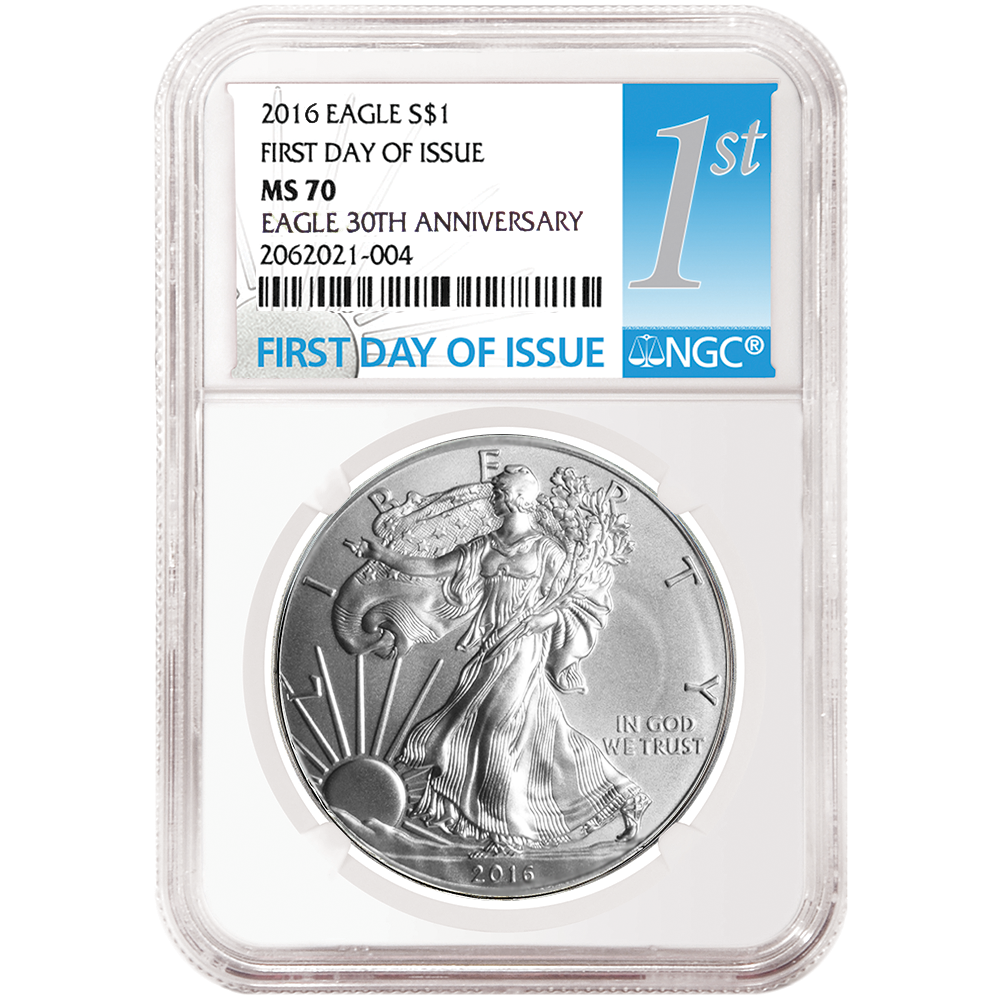 NGC MS70 2016-W American Silver Eagle Burnished 1st Label First Day Issue
