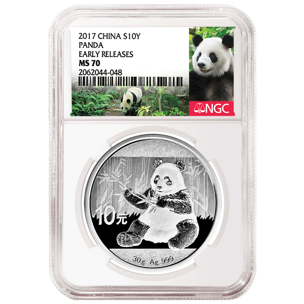 Panda ER Label 2015 10 Yuan Silver China Panda NGC MS70 Early Releases