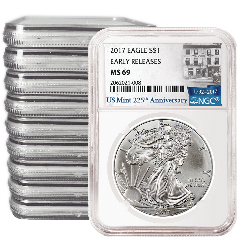 Lot of 3-2017 $1 American Silver Eagle NGC MS69 Early Releases Blue ER Label