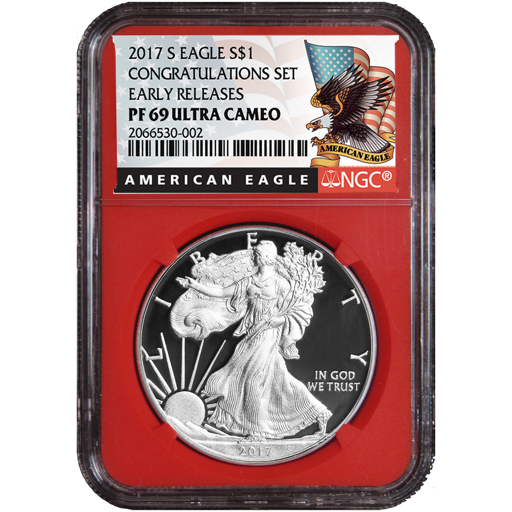 2016-W Proof $1 American Silver Eagle NGC PF69UC First Releases Blue Core Red La