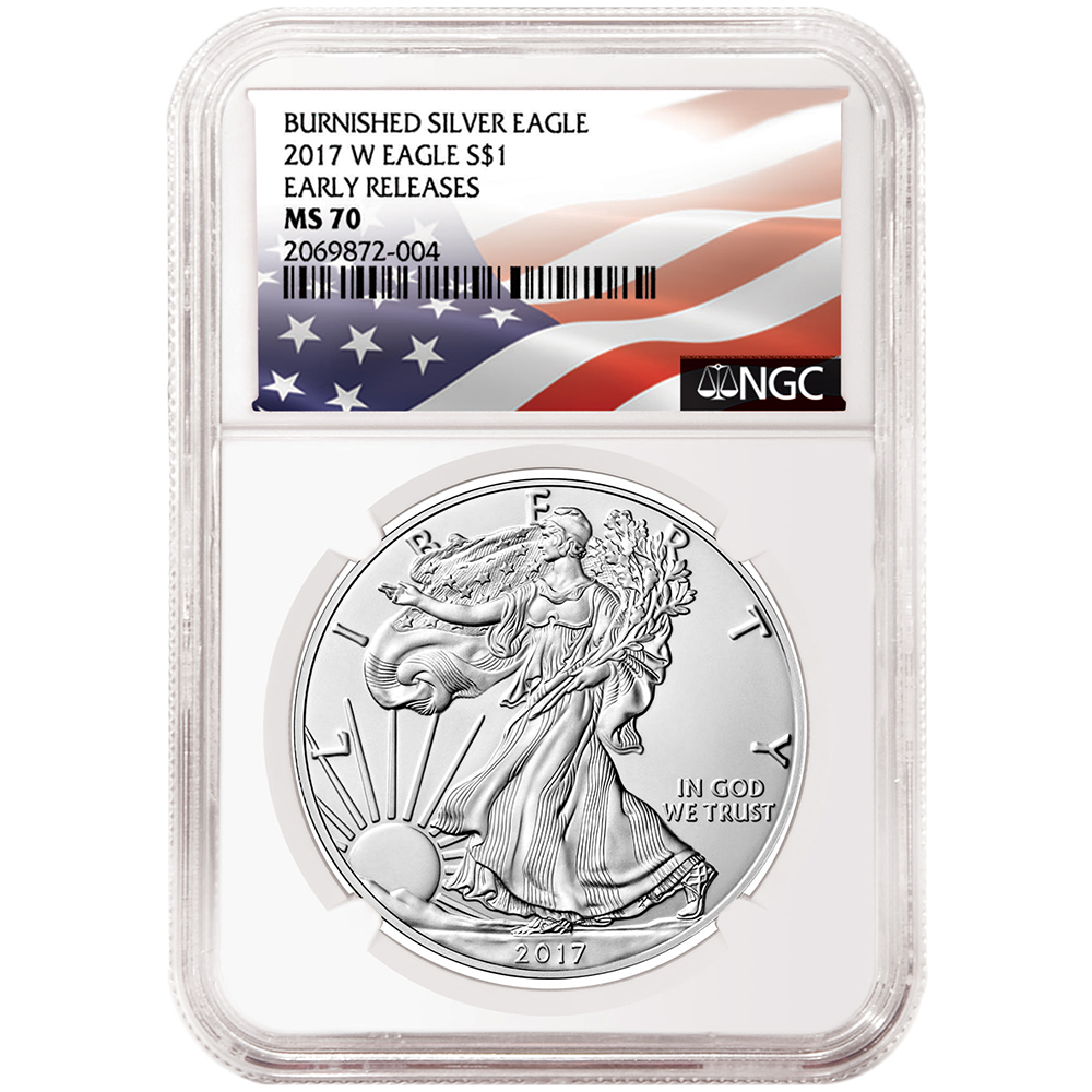 S 2017 $1 American Silver Eagle NGC MS70 Blue ER Label