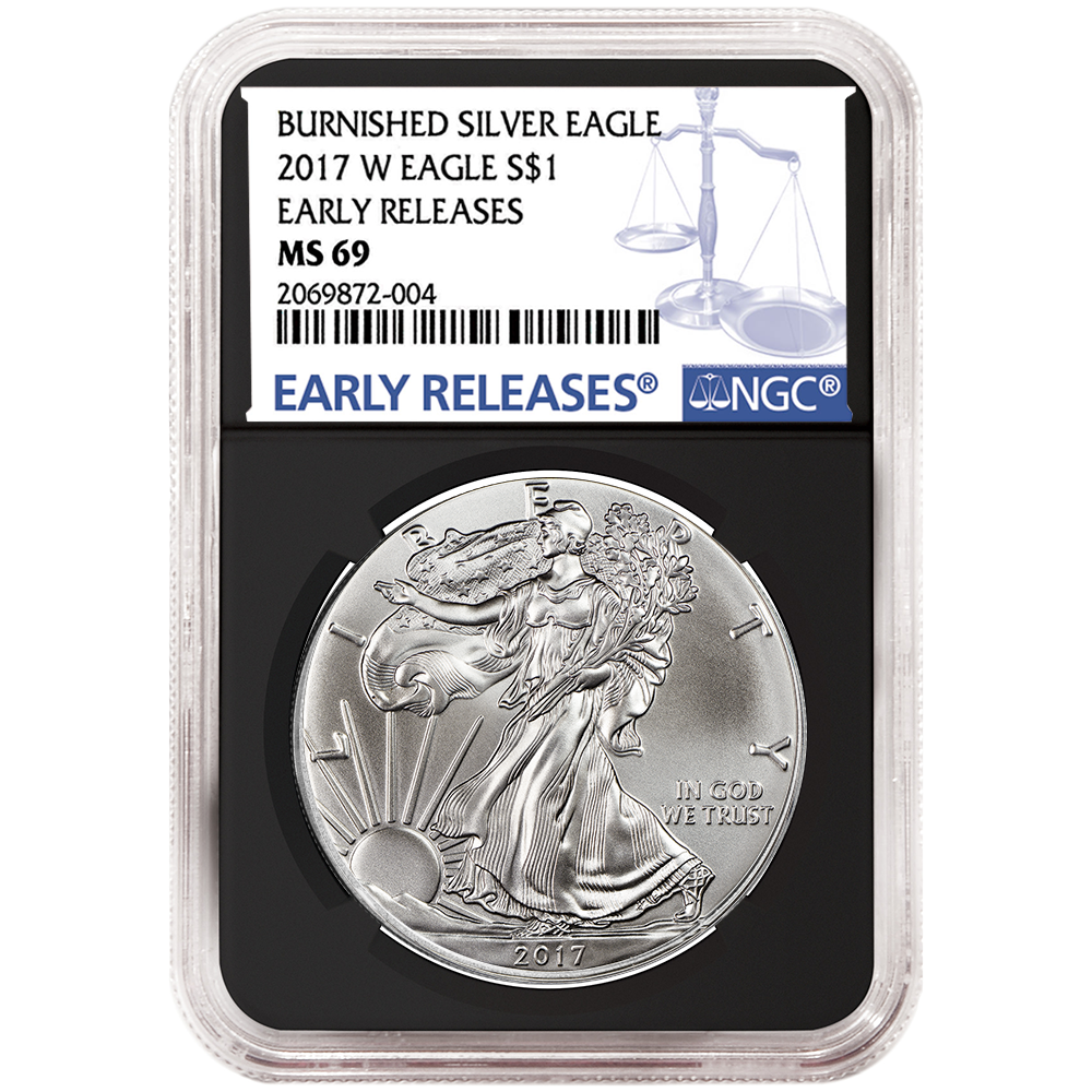 2017-W Proof $1 American Silver Eagle NGC PF70UC Black ER Label Blue Core
