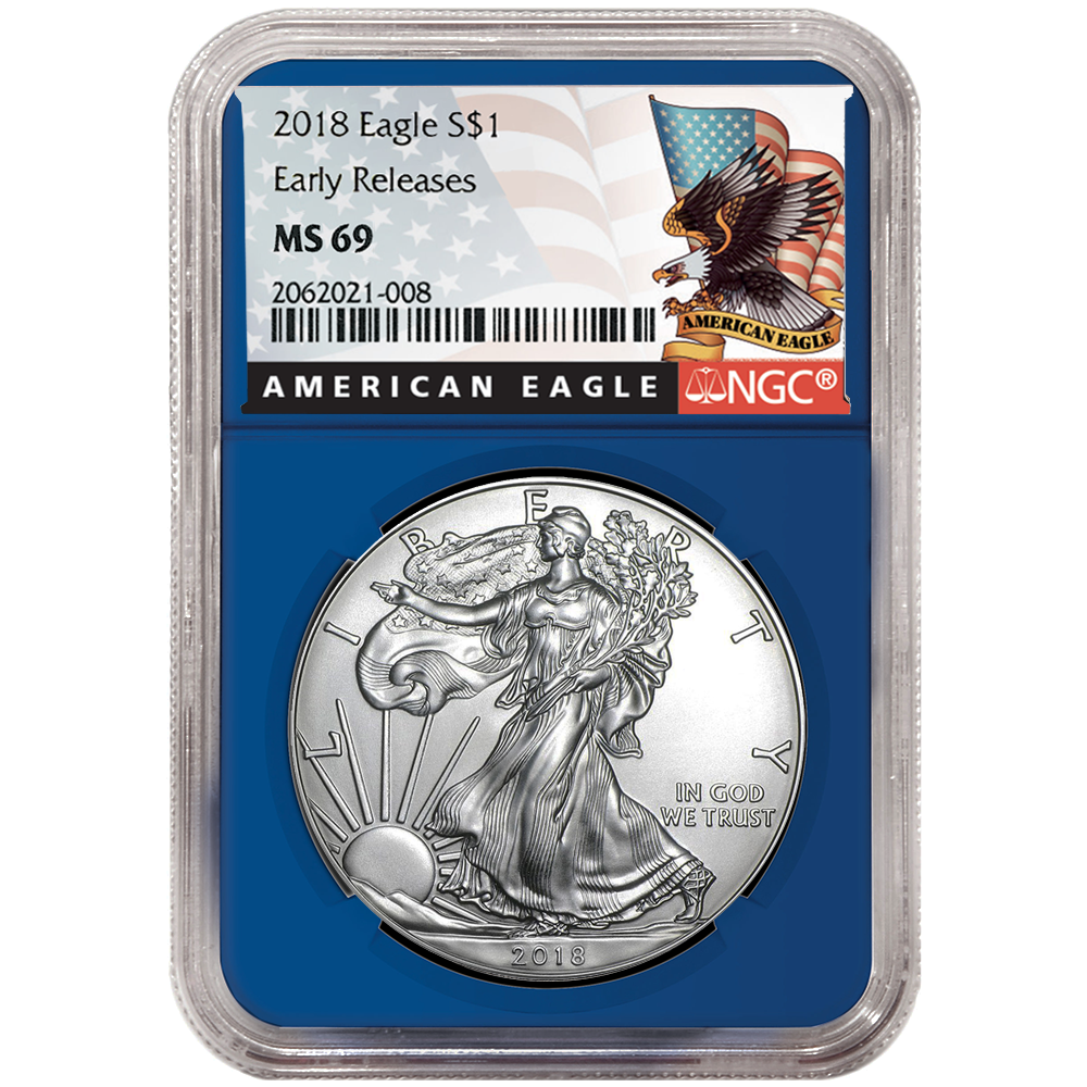 2018 $1 American Silver Eagle NGC MS69 ALS ER Label Blue Core