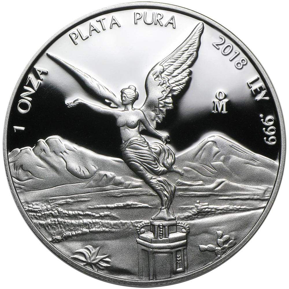 2018 Proof Silver Mexican Libertad Onza 2 oz in Cap