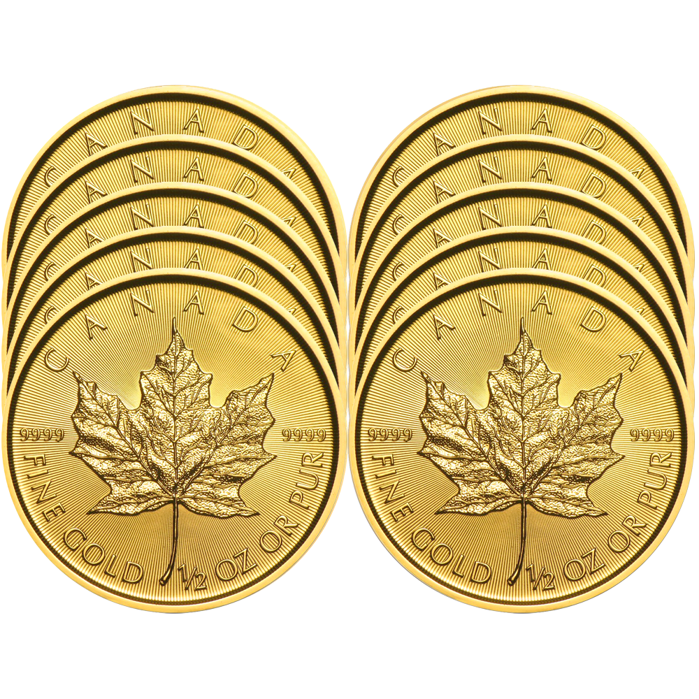 Lot of 5-2019 $1 Gold Canadian Maple Leaf .9999 1//20 oz Brilliant Uncirculated