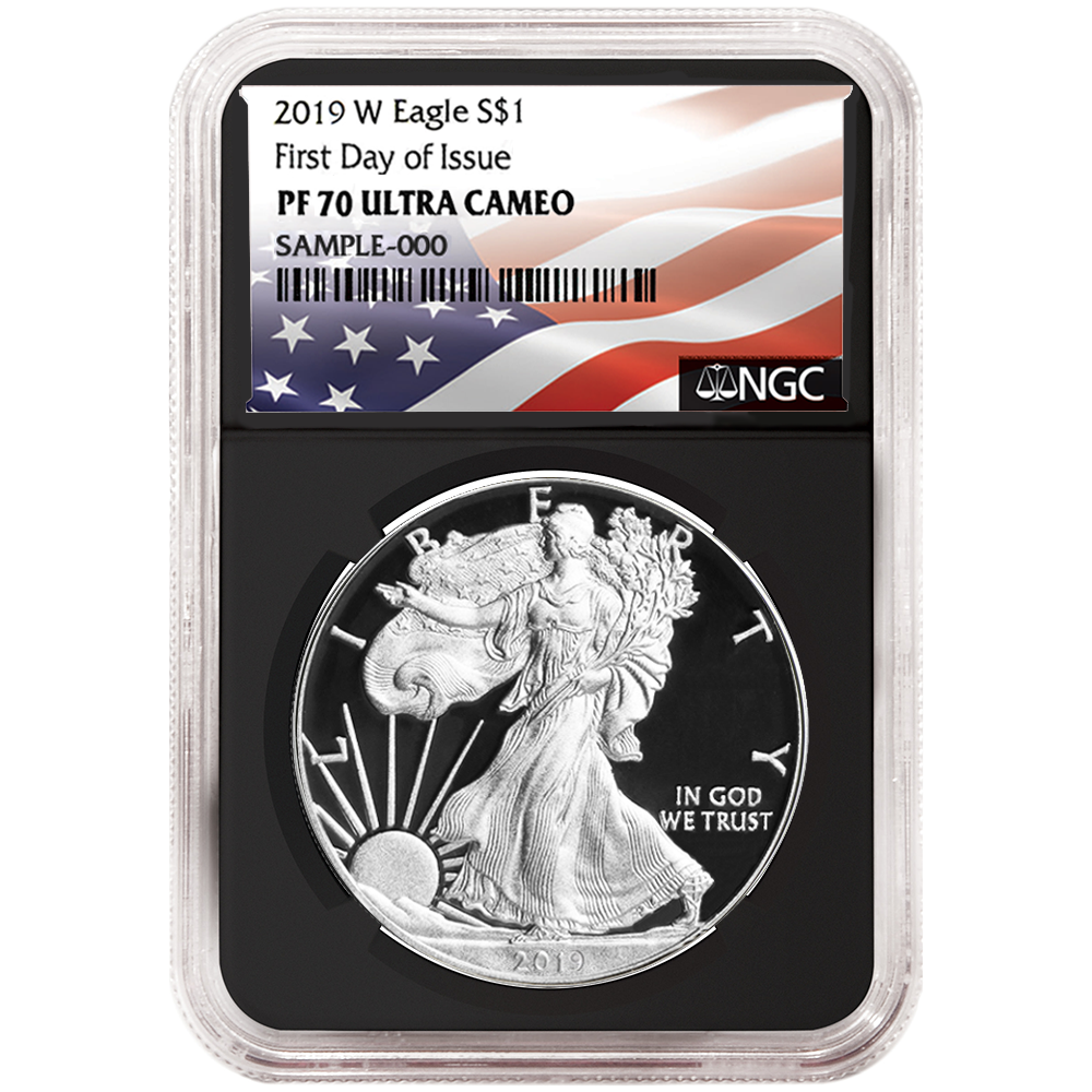 2019-W Reverse Proof $1 American Silver Eagle NGC PF70 FDI Flags Label Blue Core
