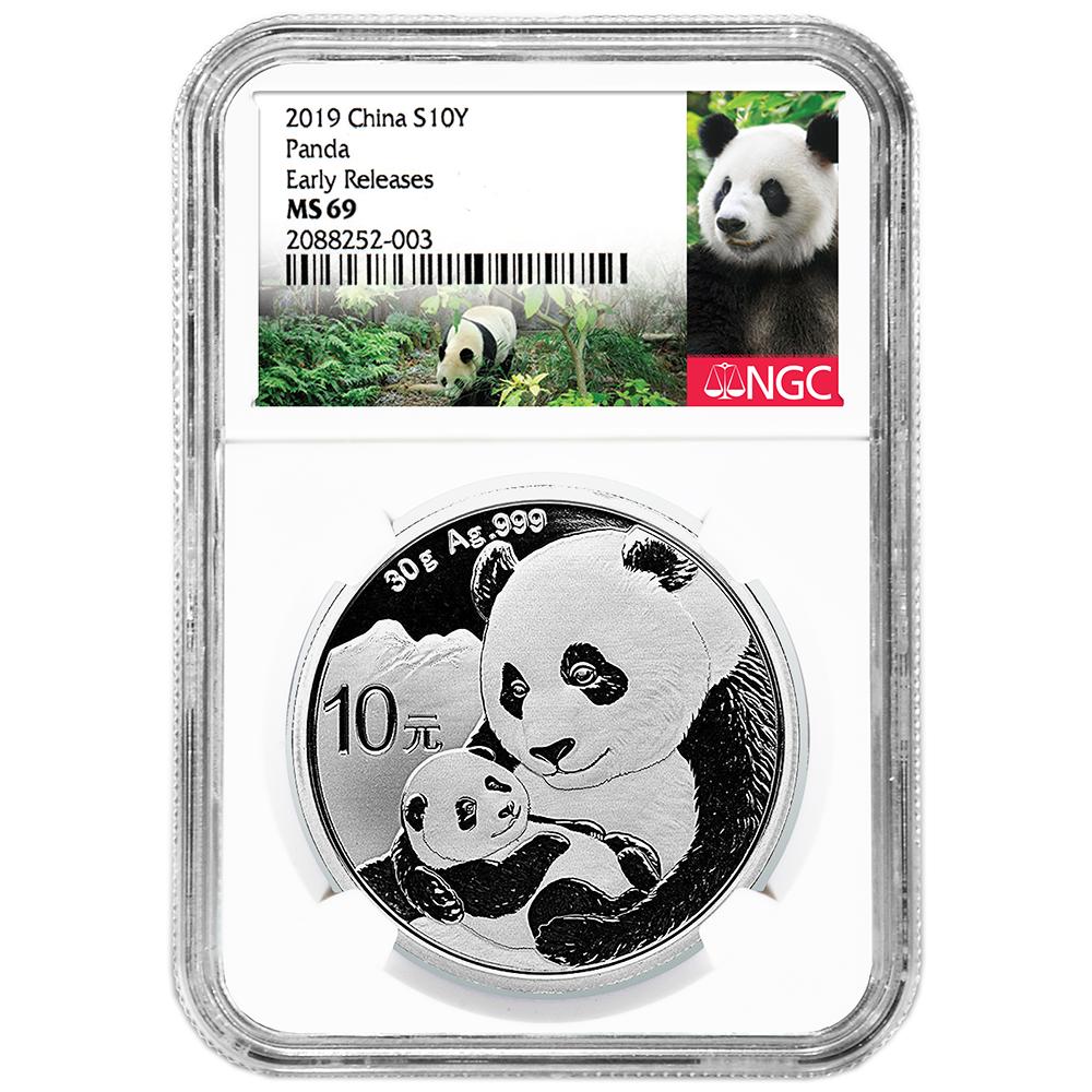 2019 10 Yuan Silver China Panda NGC MS69 China ER Label
