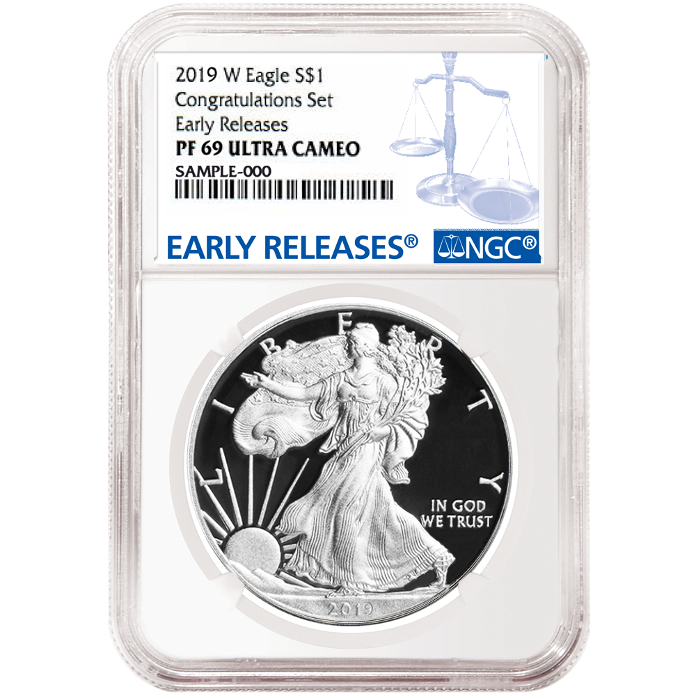 2019-W PROOF American Silver Eagle CONGRATULATIONS SET NGC PF 69 Early Releases