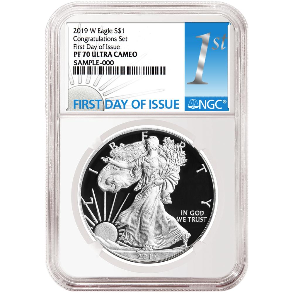 2019-W Proof $1 American Silver Eagle NGC PF70UC FDI Flag Label Retro Core