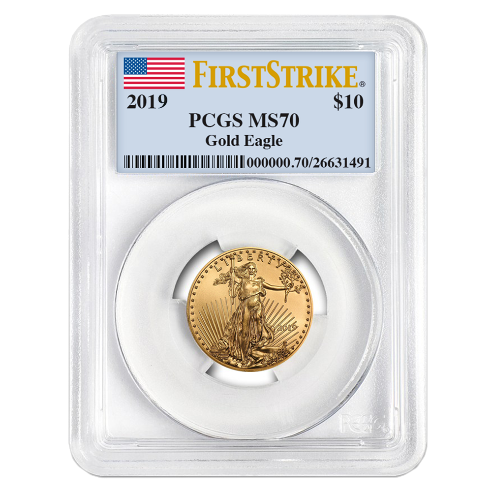 PCGS MS70 First Strike Flag Label 2019 American Gold Eagle 1//10 oz $5