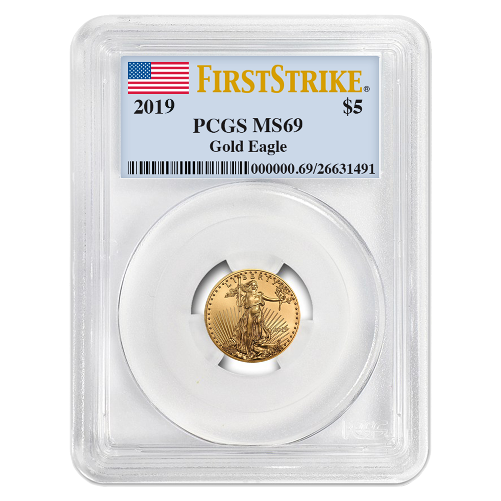 2019 $5 American Gold Eagle 1//10 oz PCGS MS69 First Strike Flag Label