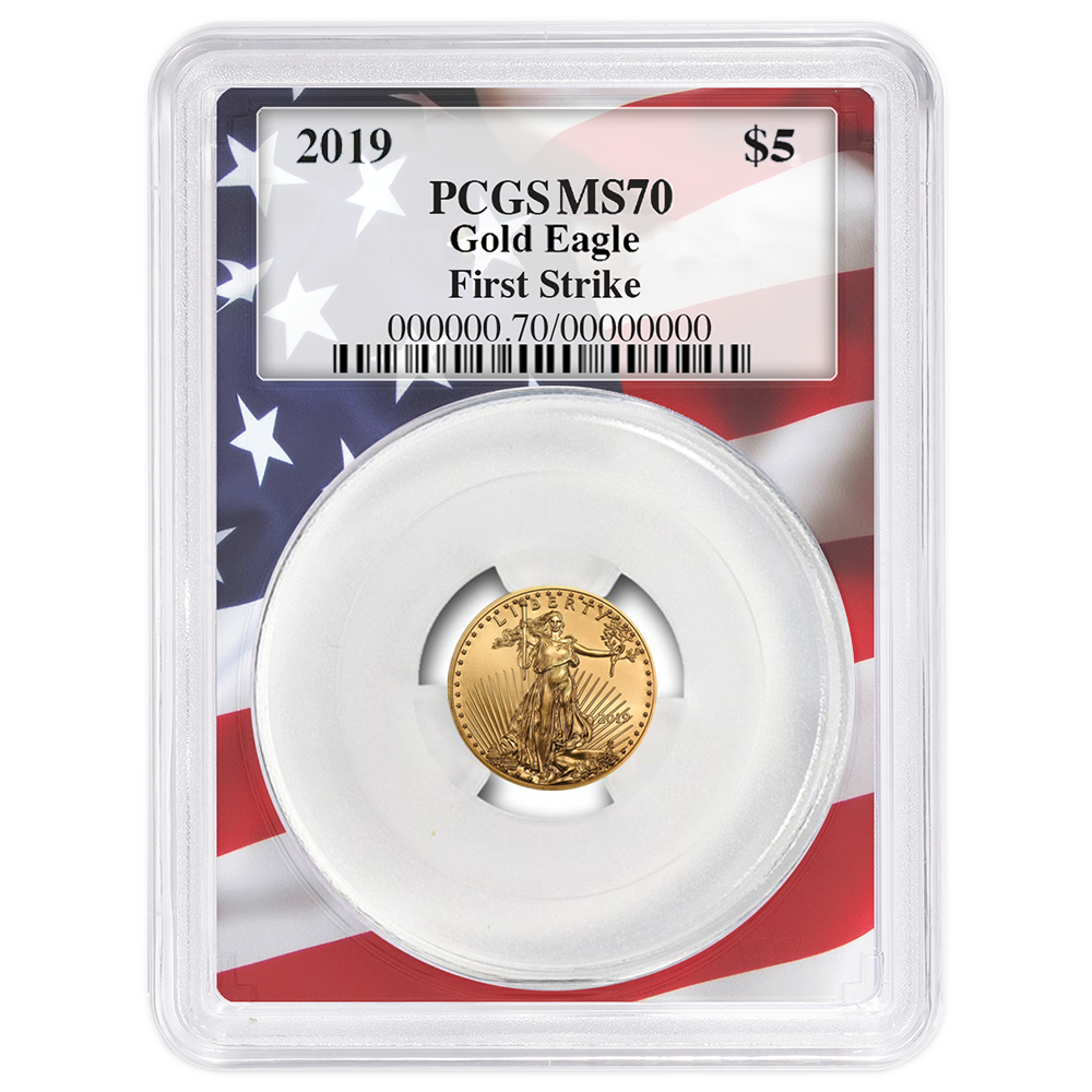 2019 American Gold Eagle 1//10 oz $5 PCGS MS70 First Day of Issue Flag Label