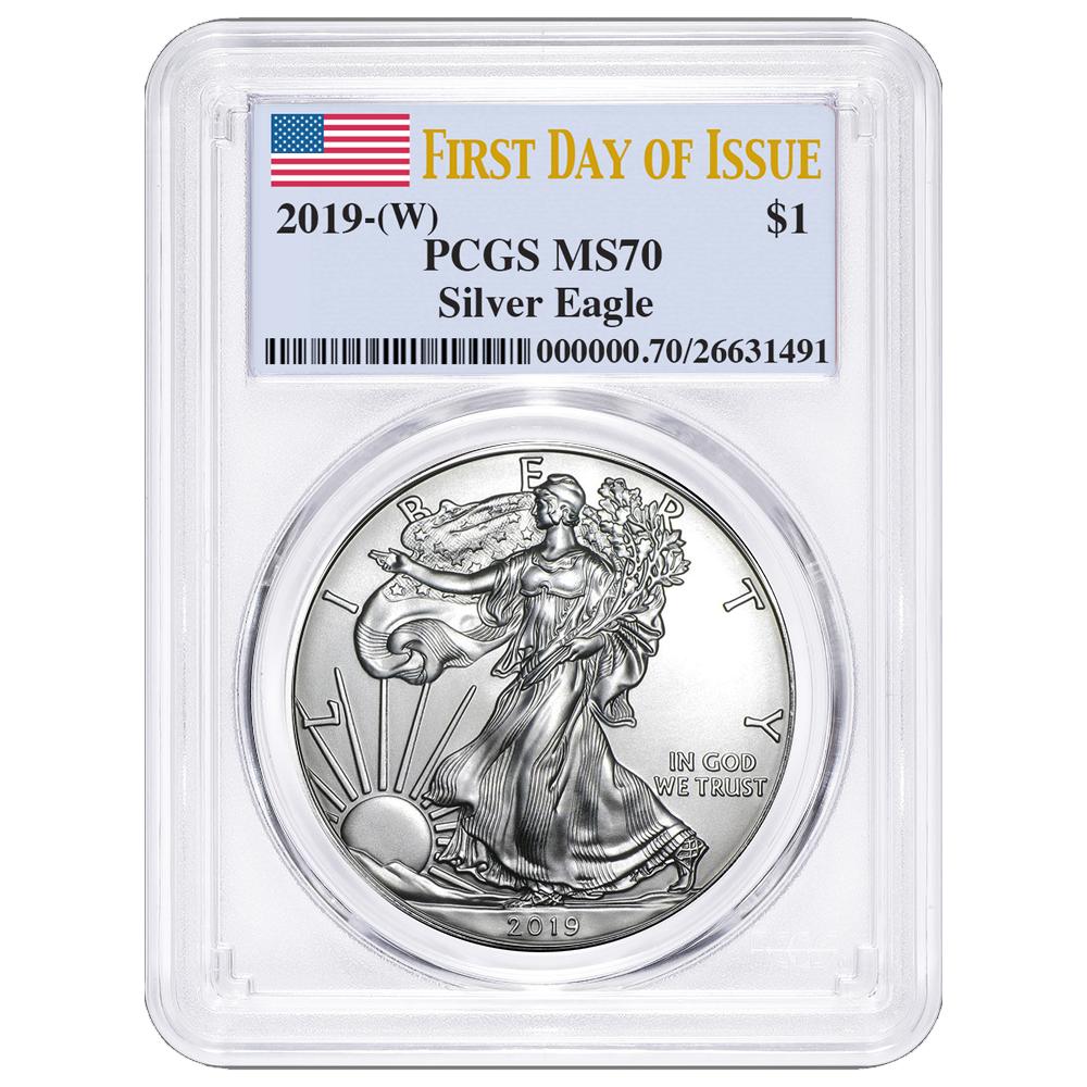 $1 American Silver Eagle PCGS MS70 FDOI Flag Label 2019 W