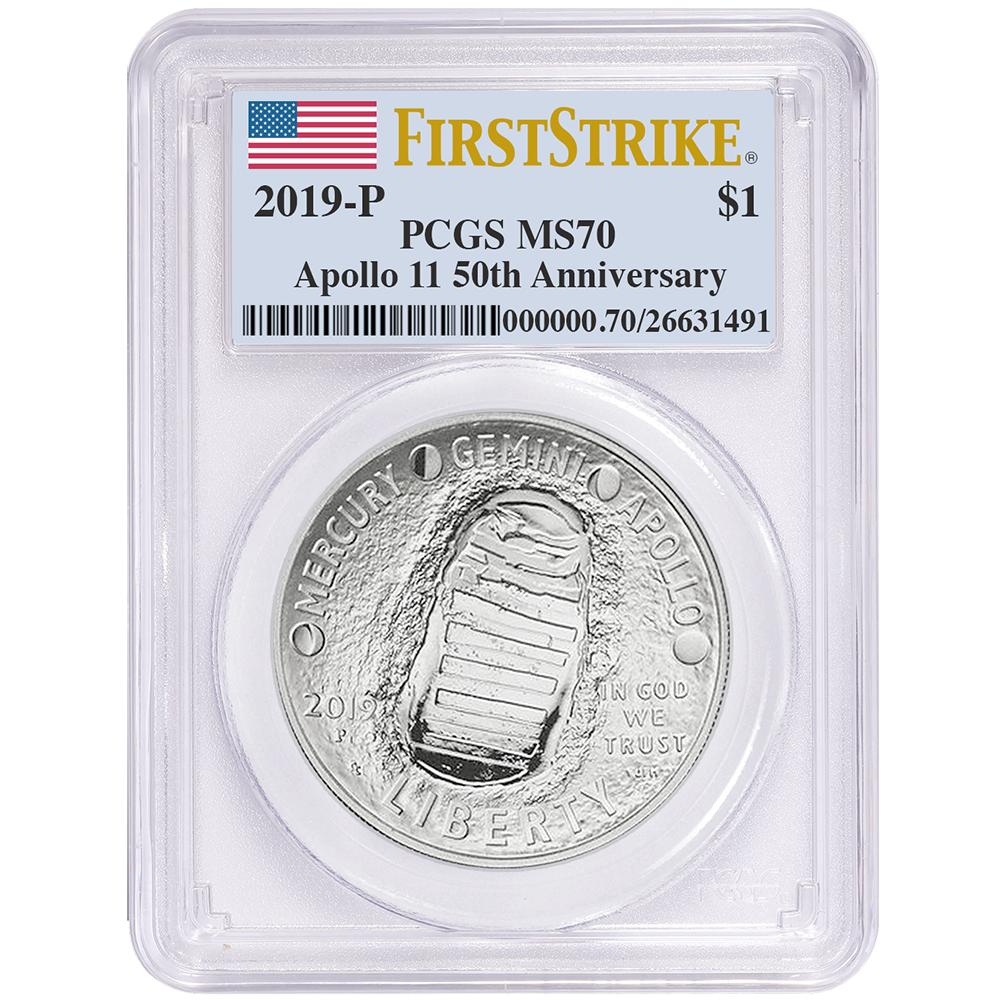 2019-P Uncirculated $1 Apollo 11 50th Ann Silver Dollar NGC MS70 ASF ER Label