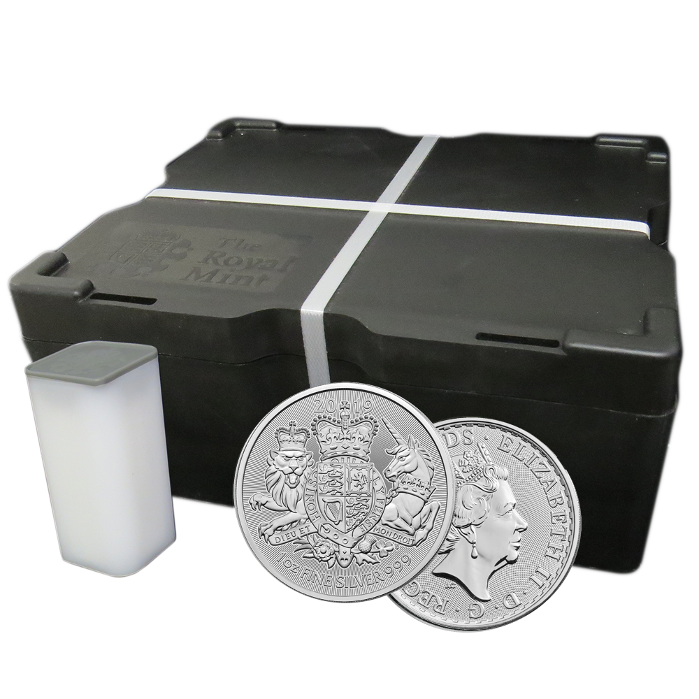 Lot of 5-2019 U.K 2 Pound Silver The Royal Arms .999 1 oz Brilliant Uncircula