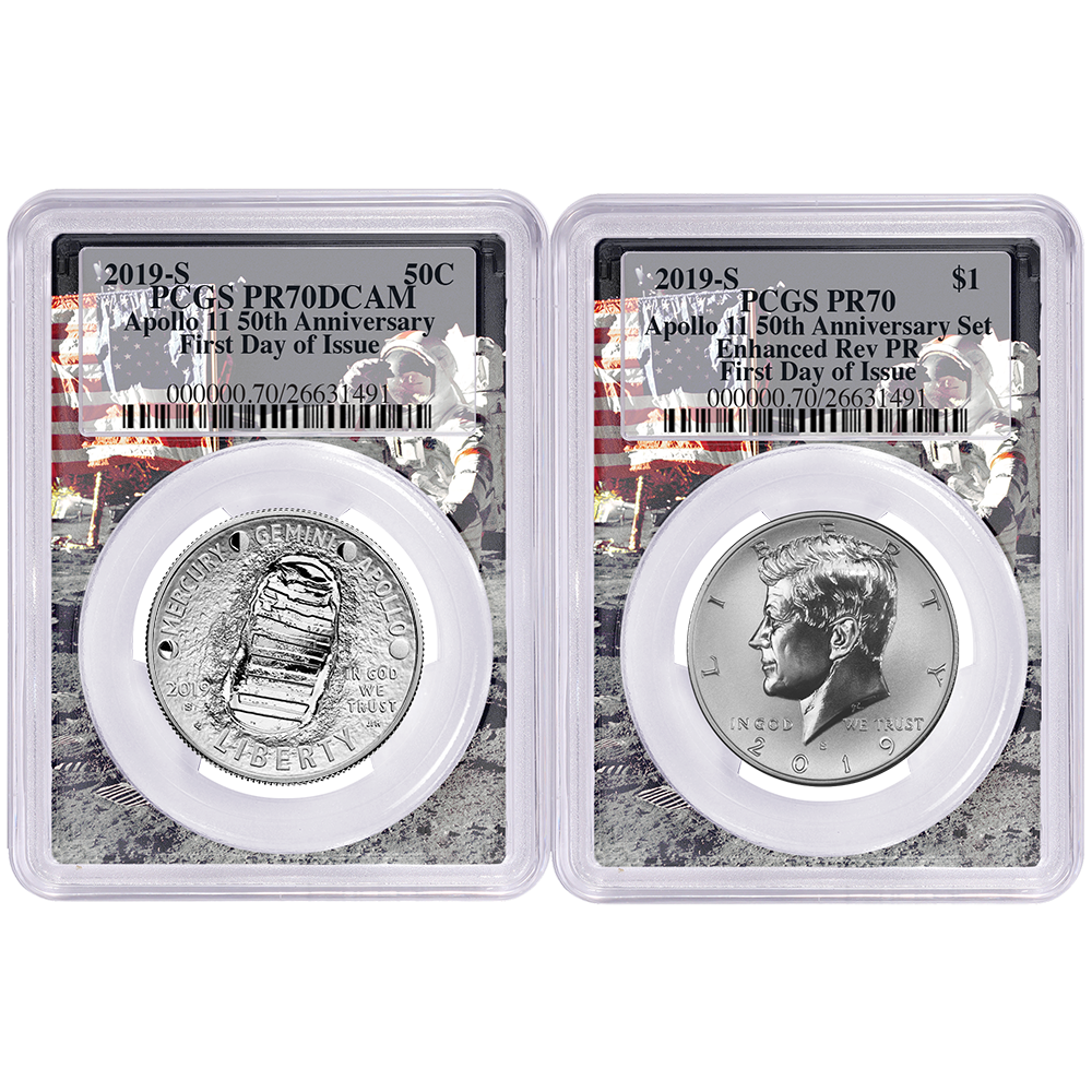2019-S Proof Half Dollar Apollo 11 50th Anniversary PCGS PR70 FIRST DAY OF ISSUE