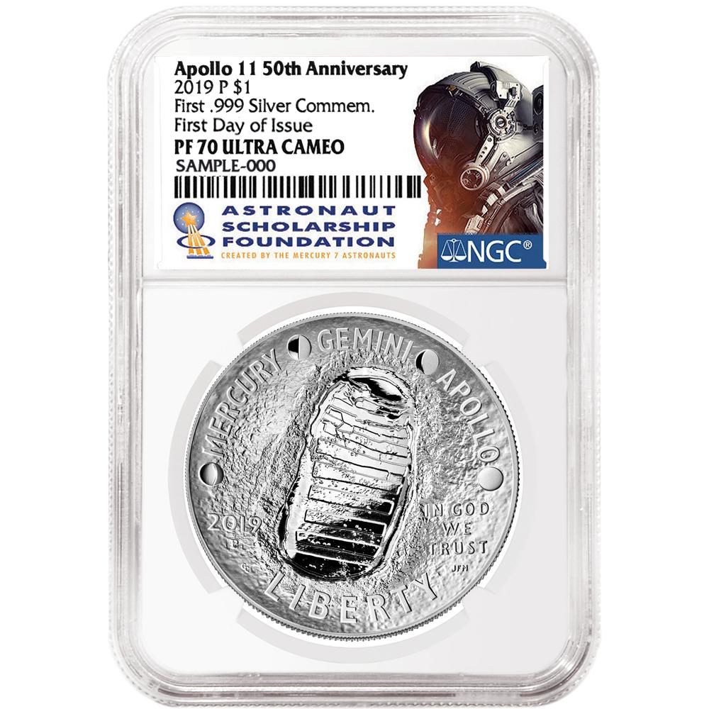 2019-P Proof $1 Apollo 11 50th Ann Silver Dollar NGC PF70UC FDI ASF Label Retro
