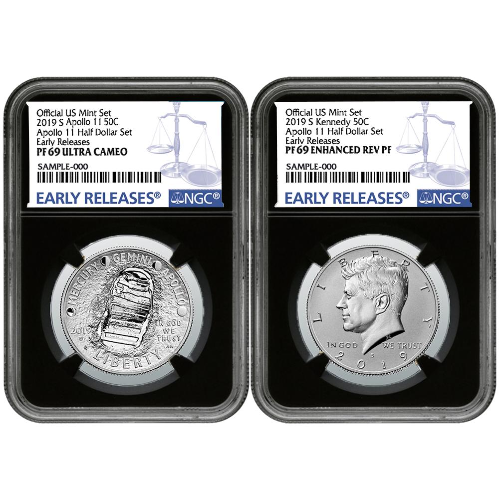 2019-D Apollo 11 50th Ann 50C Half Dollar First Day of Issue FDOI PCGS MS70