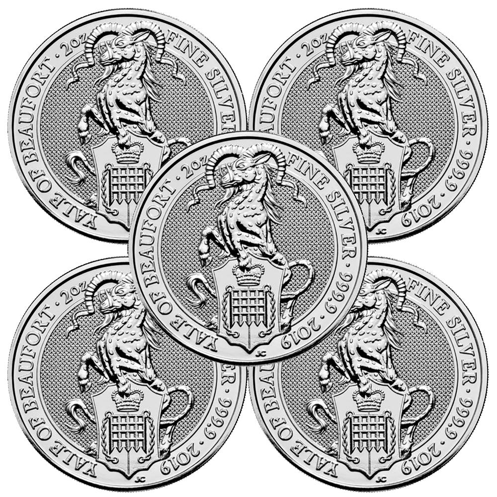 5 Pound Silver Queen/'s Beast Falcon .9999 2 oz BU Lot of 5-2019 U.K