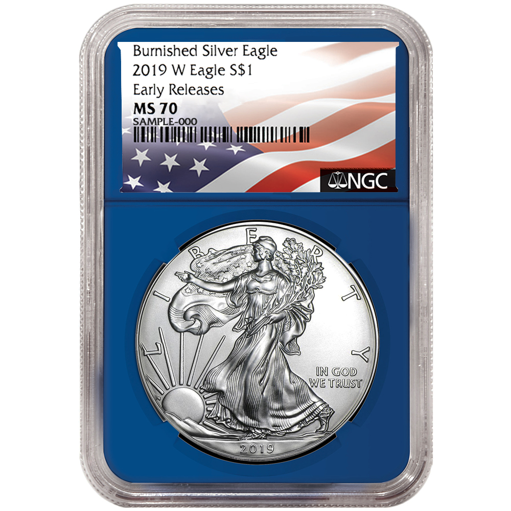Set PCGS SP70 FS Flag Label Red W 2019-W Burnished $1 American Silver Eagle 3pc