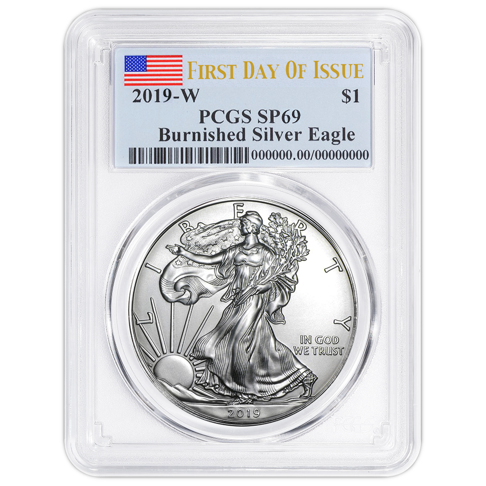 2019-W Burnished $1 American Silver Eagle PCGS SP70 FS West Point Label