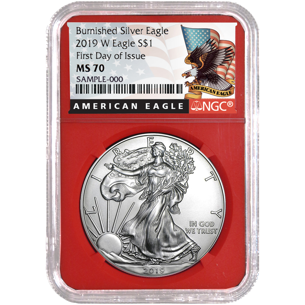 2019-W Burnished $1 American Silver Eagle NGC MS70 FDI First Label