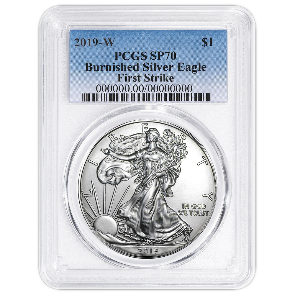 2019 W Burnished Silver Eagle PCGS SP70 Eagle Frame First Day Issue