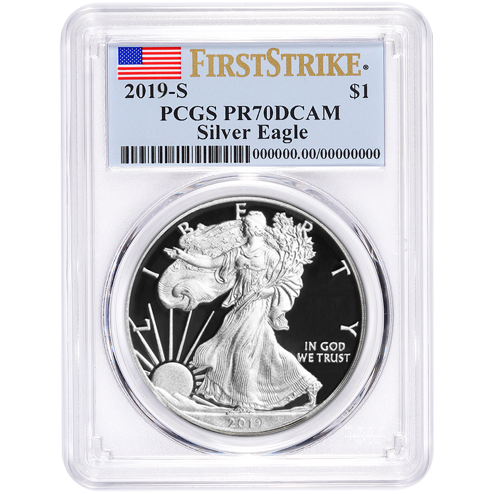 2017 AMERICAN SILVER EAGLE PCGS MS69 FIRST STRIKE FLAG LABEL 1oz Coin BRILLIANT