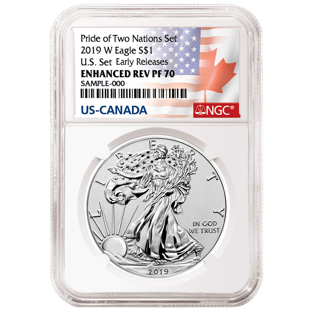 Set U.S Set NGC PF69 ER Flags Label 2019 Pride of Two Nations 2pc