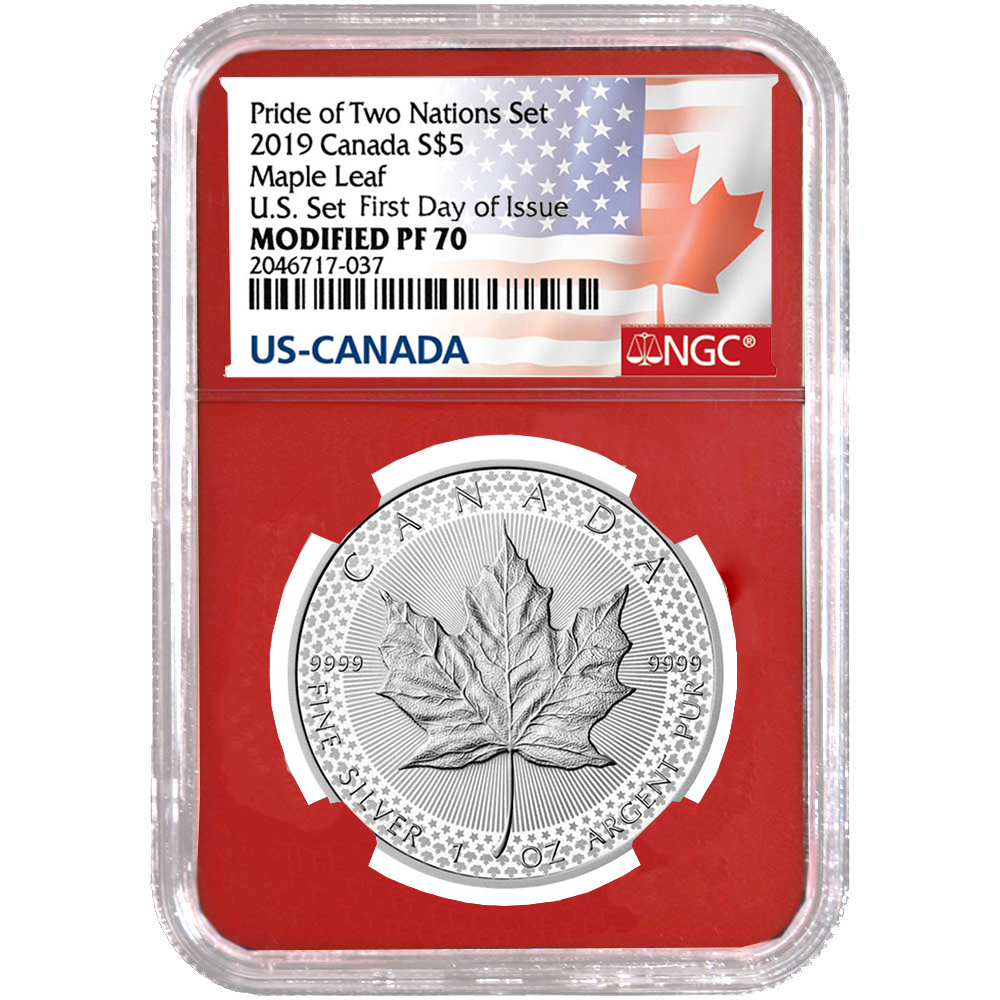 2019 $5 NGC PF70 ER MODIFIED PROOF SILVER CANADA MAPLE LEAF PRIDE OF NATIONS SET