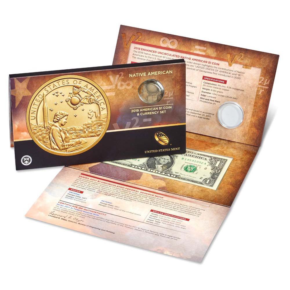 ASF Label 2019 P Native American Enhanced $1 Coin /& Currency Set NGC SP69 ER