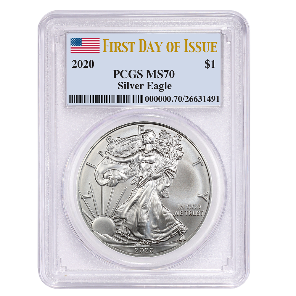 W 2020 $1 American Silver Eagle PCGS MS70 FDOI Flag Label