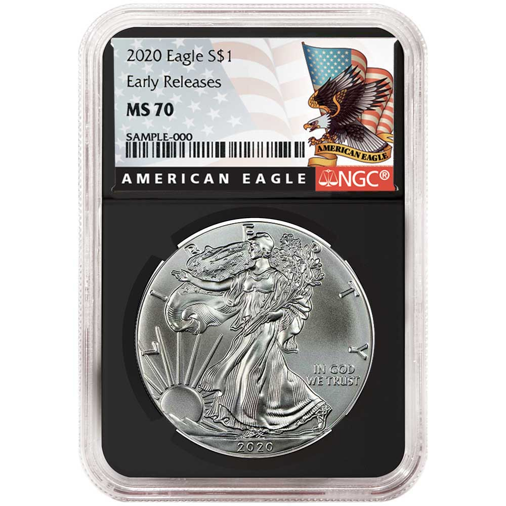 2020 $1 American Silver Eagle NGC MS70 Black ER Label