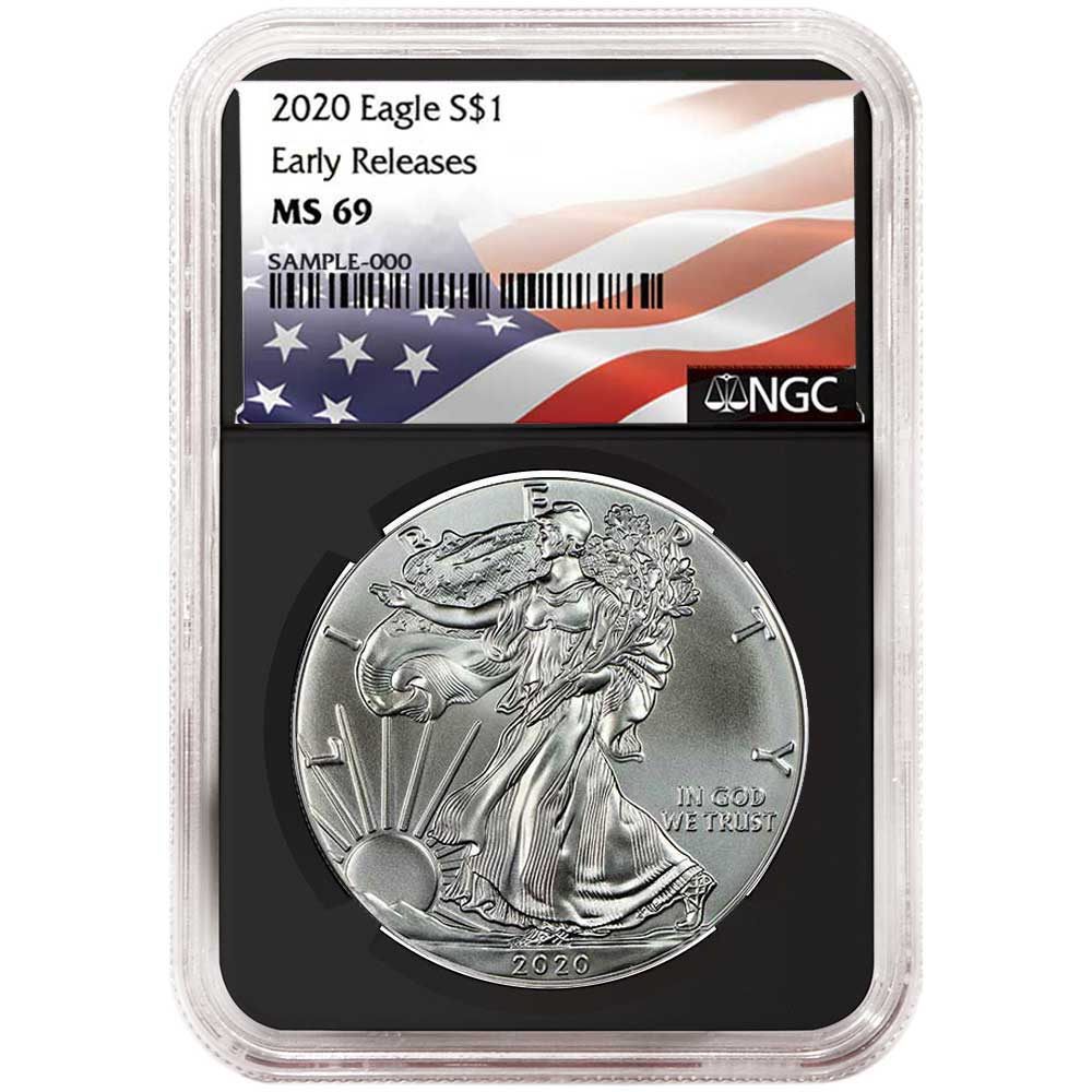 2019-W Burnished $1 American Silver Eagle NGC MS69 Flag ER Label