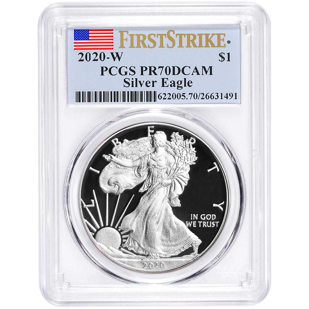 A 2012 S Silver Eagle PCGS MS 69 First Strike Flag label $1 San Fran