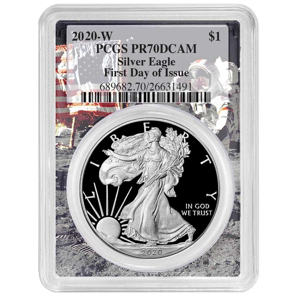 2019-W Proof $1 American Silver Eagle PCGS PR70DCAM FDOI Apollo Frame