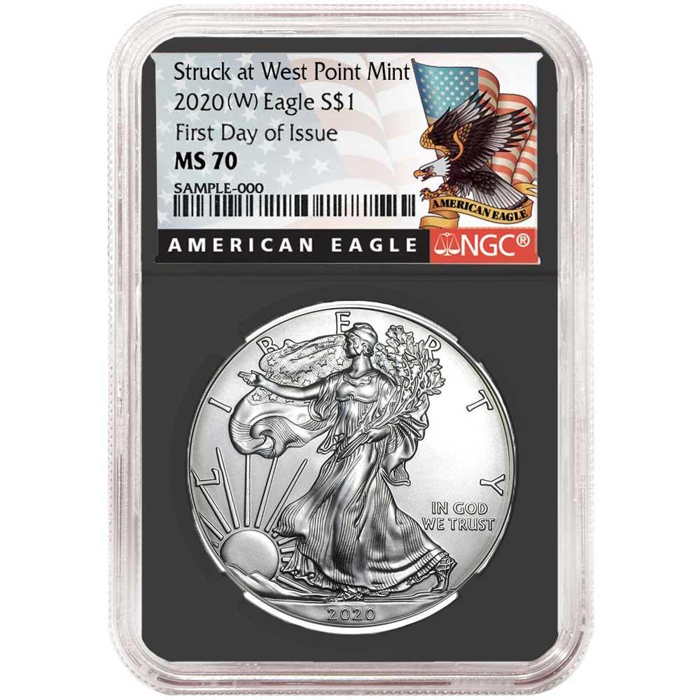 2020 $1 American Silver Eagle NGC MS70 FDI First Label Retro Core