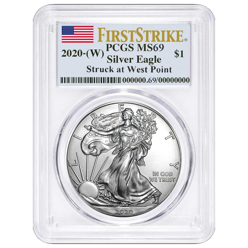 W 2020 $1 American Silver Eagle PCGS MS69 First Strike Flag Label Blue Frame