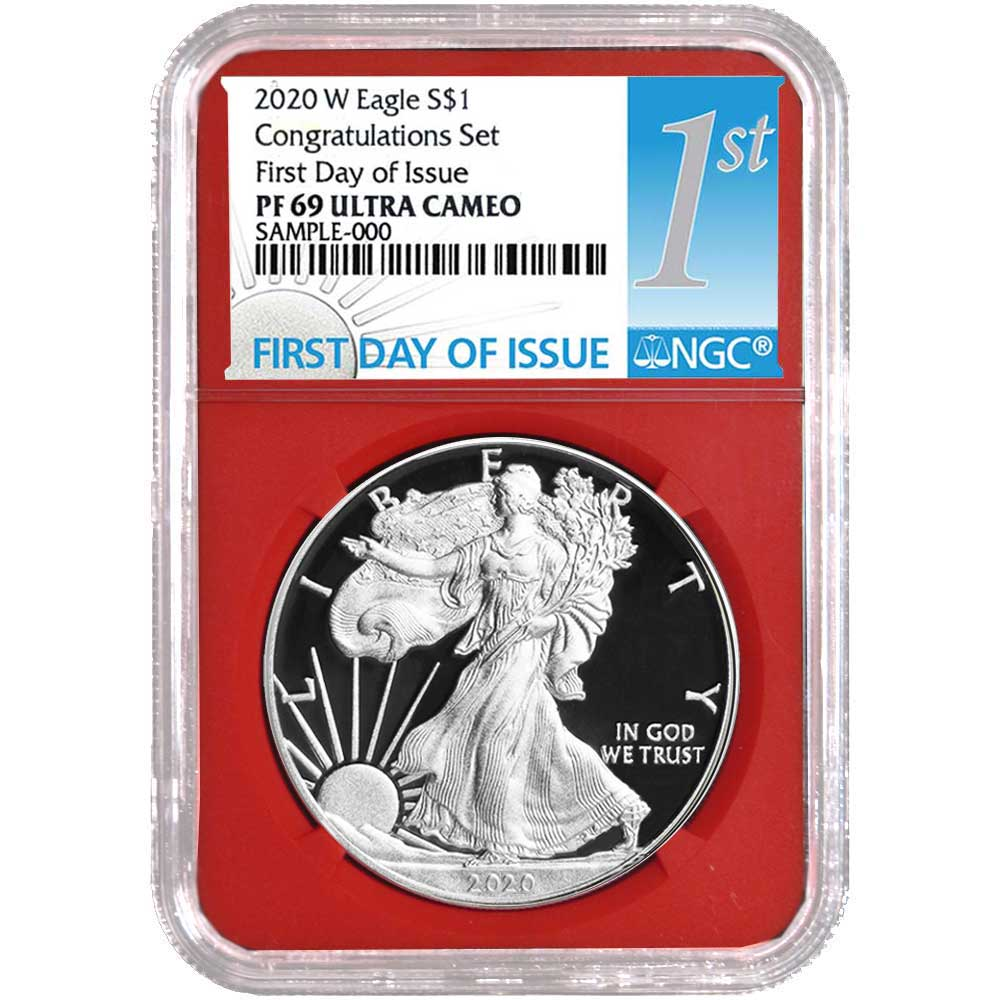 2019-S Proof $1 American Silver Eagle 3pc Set NGC PF69UC FDI First Label Red Wh