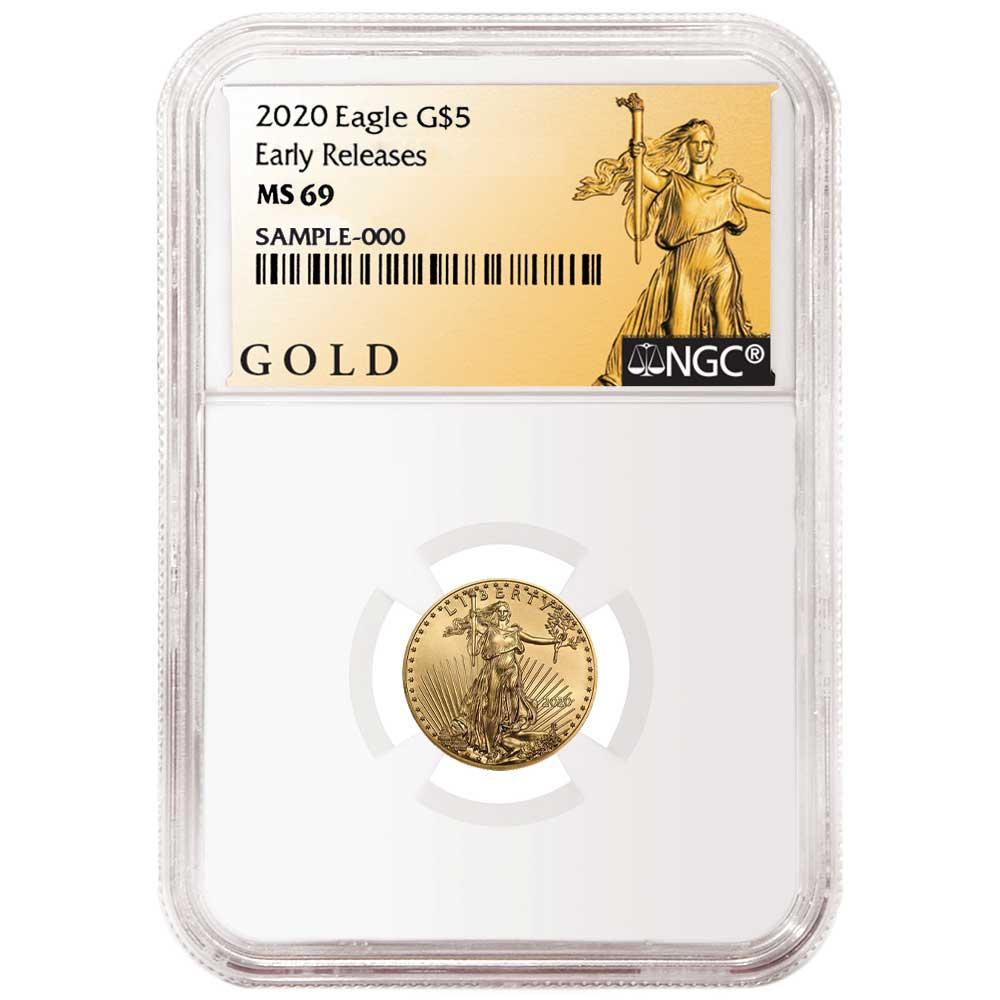 2019 $5 American Gold Eagle 1//10 oz NGC MS69 Black ER Label