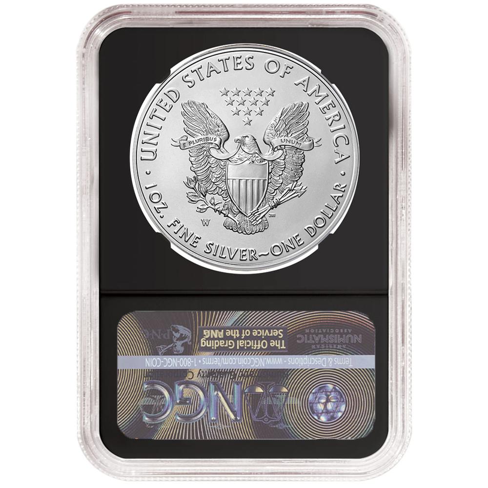 2019-W Burnished $1 American Silver Eagle NGC MS70 FDI Black Label Retro Core