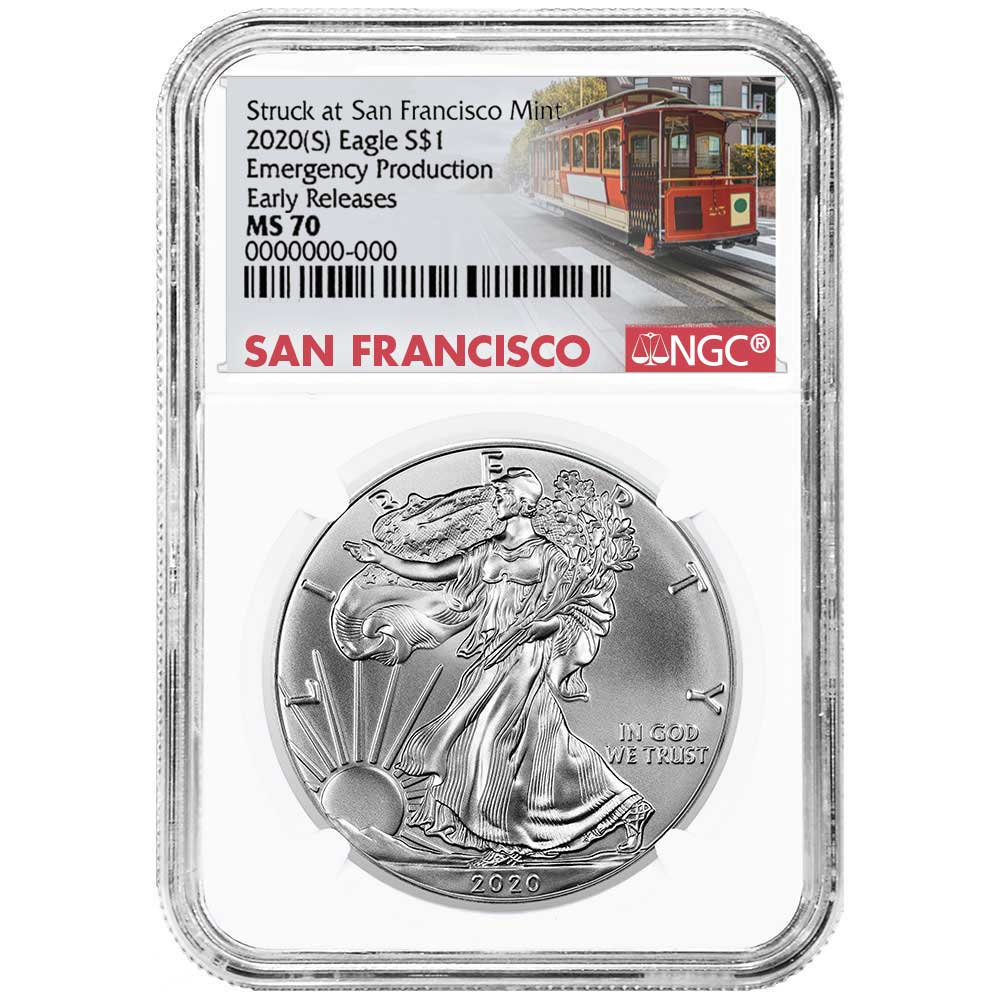 1 oz Silver American Eagle NGC MS 69 ER Emergency Production Trolley S 2020