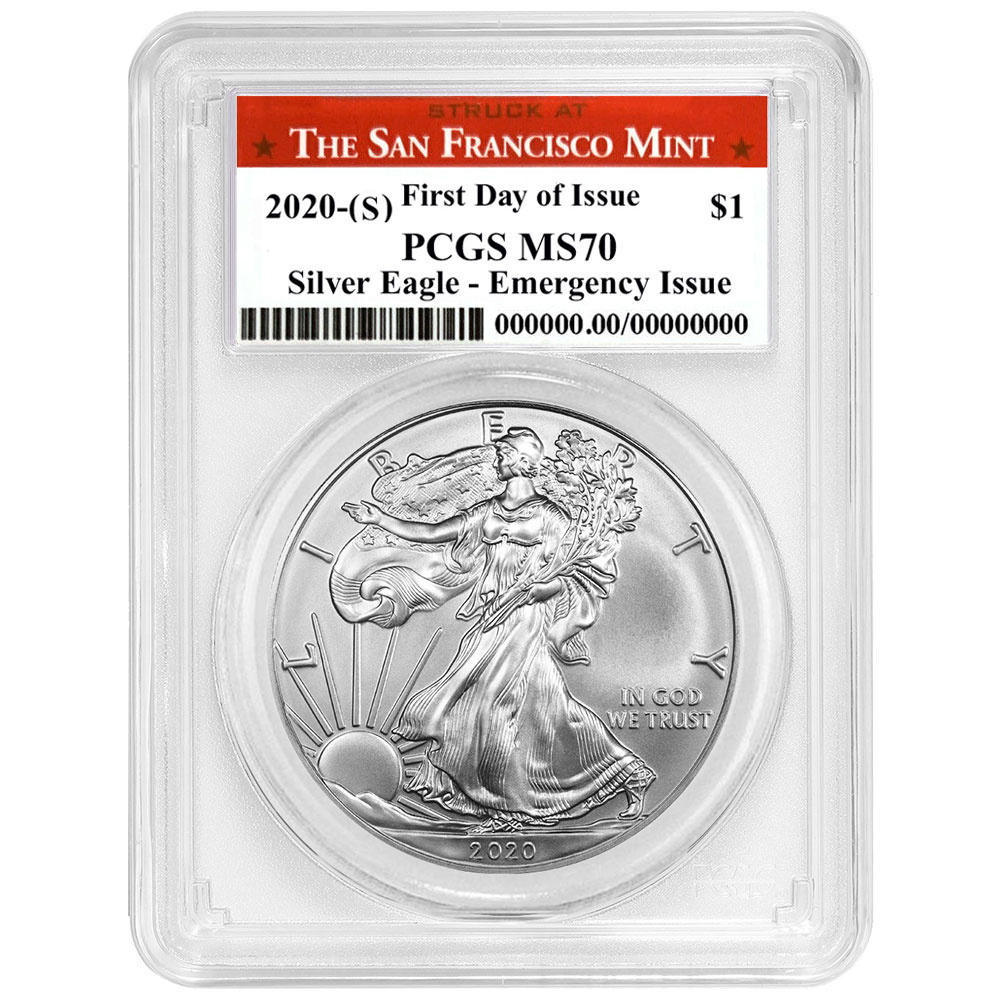 Presale $1 American Silver Eagle PCGS MS70 Emergency Issue FDOI San F 2021 S