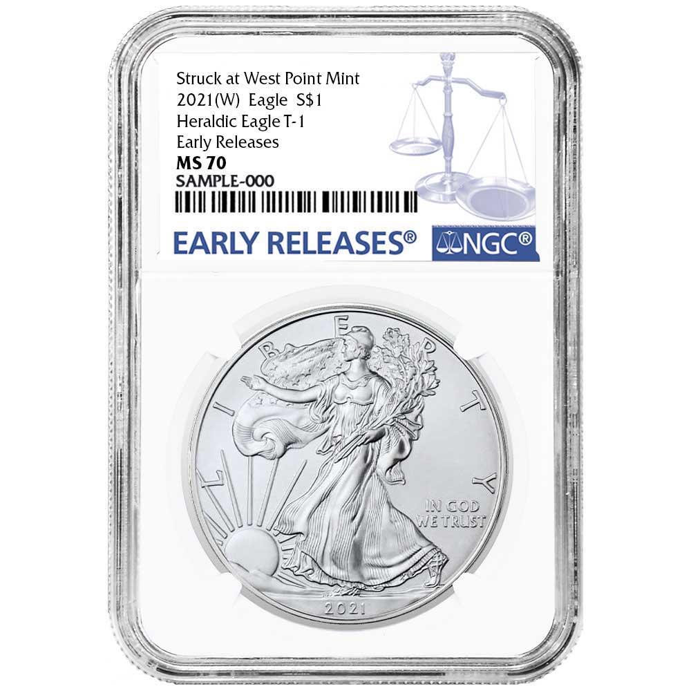 W 2017 $1 American Silver Eagle NGC MS70 Black ER Label Blue Core
